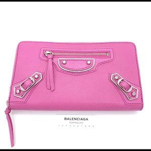 Auth Balenciaga Metallic Edge Pink Leather Wallet